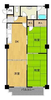 紅梅台ハイツ2号棟 3DK、価格250万円、専有面積59.39m<sup>2</sup>、バルコニー面積6.05m<sup>2</sup> 間取り図は現況を優先します。