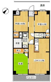 サンフラット若木2階 3LDK、価格730万円、専有面積61.75m<sup>2</sup>、バルコニー面積6m<sup>2</sup>