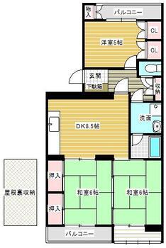 上津役グリーンマンション 3DK、価格350万円、専有面積61.25m<sup>2</sup>、バルコニー面積5.6m<sup>2</sup>