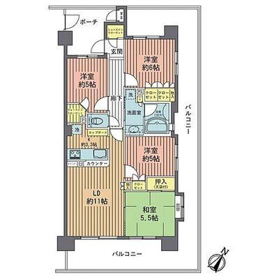 サンクレイドル羽村リヴィエール 3方角部屋