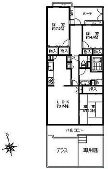 リバーサイド壱番街五号棟 専用庭や玄関ポーチのあるお部屋。