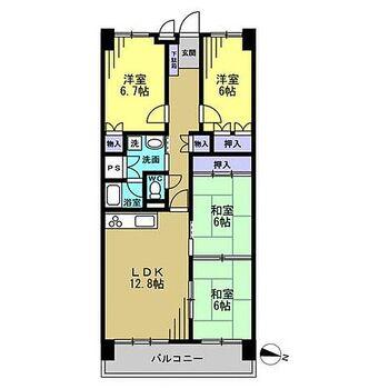 グランドパレス上須磨 【間取図】リフォーム前の間取。和室1室とLDKをつなげ、3LDKに間取り変更予定。管理規約に定められている専有部分の給排水管に漏水や故障があった場合は、弊社が引き渡しから2年間保証します。
