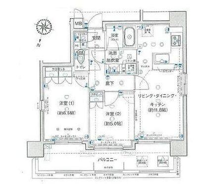ヴェルディーク小田原城址公園 三面開口の開放感ある角部屋、2LDKのお住まいです。