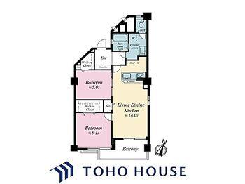南砂住宅8号棟 2LDK、価格3280万円、専有面積59.92平米、バルコニー面積5.5平米