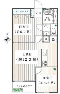 狛江コーポラス 専有面積50.22平米