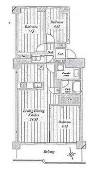 ベルヴィル大宮B棟 3LDK専有面積74.03平米 バルコニー面積10.65平米