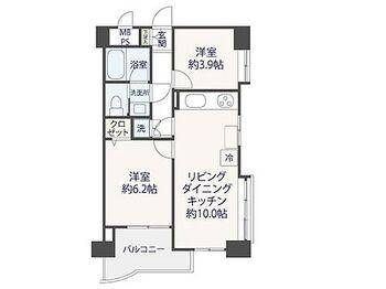 セブンスターマンション第5大森 2LDK、専有面積45.05m2、バルコニー面積6.28m2