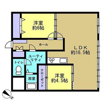 琴似ドムール 総戸数は55戸。間取は洋室2部屋の2LDKです。クロスを貼り替えて、床材を上張りしますので、キレイに生まれ変わります。