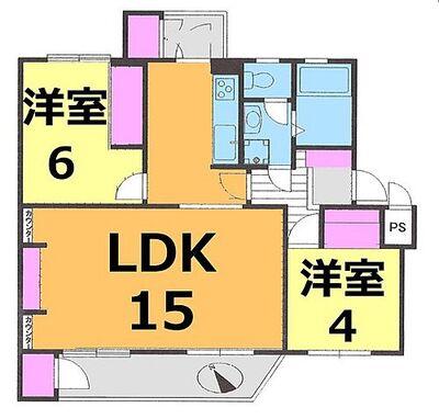 谷津遊園ハイツI棟 LDK15帖の明るいリビングダウンライトがおしゃれで落ち着く空間を創造