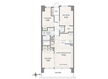 グランビュースクエア 503号室 間取り図