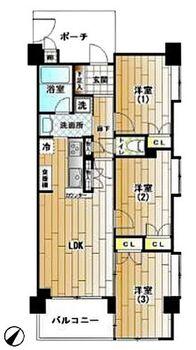 パール岸谷公園 ライフスタイルの変化にも対応できる安心の3LDK。■収納は全室に付いているから荷物が増えても安心。■全居室に嬉しい出窓付き。