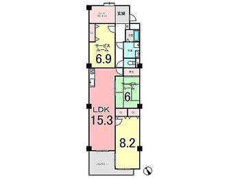 南ヶ丘アイリス B棟 1LDK2S(Sサービスルーム)専有面積:90.19m2(壁芯)バルコニー面積:8.37m2